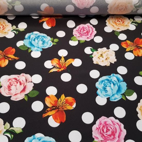 Crepe Topos y Rosas Colores