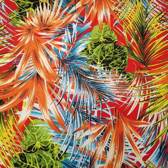 Tela Crespón Plantas Palmeras Llamativa - Tela muy llamativa de crespón con dibujo de plantas finas de palmera de varios tamaños y colores. Es muy original y divertida, sobretodo si vas a confeccionar un vestido playero o falda. El ancho de la tela crespó