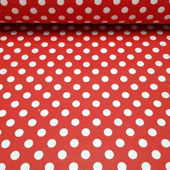 Tela Fieltro Topos - Tela de fieltro estampadacon topos blancos yfondo rojo. Ideal para manualidades infantiles, decoraciones y adornos... La tela mide 90cm de ancho y su composición es 100% poliester.