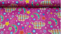Flannel Moons Stars fabric - Beautiful children's cotton flannel fabric, with drawings of moons, stars and colorful clouds on a fuchsia pink background. The fabric is 110cm wide (American width) and its 100% cotton composition.