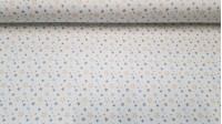 Flannel Stars fabric - Flannel fabric with blue and pink colored star patterns on a white background. Flannel fabric is very warm for the cold season and is widely used in children's clothing and accessories. The composition is 100% cotton