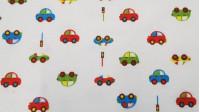 Tela Franela Coches - Bonita tela infantil de franela con dibujos de coches de colores y semáforos sobre fondo blanco. La tela es 100% algodón y de ancho mide 150cm
