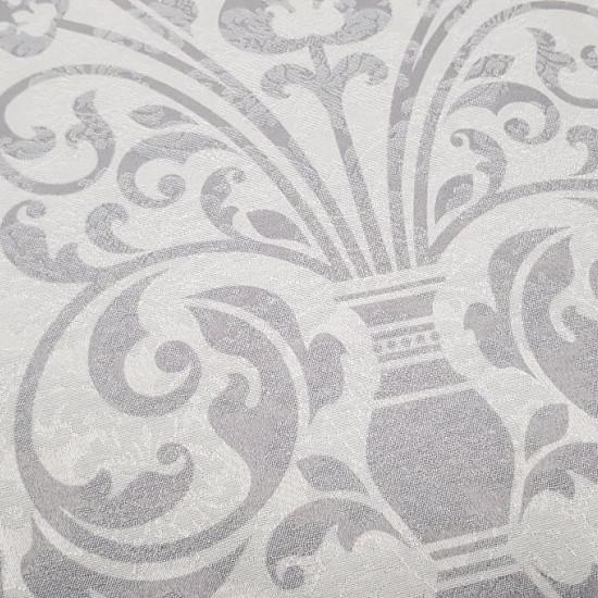 Tela Mantelería Jacquard Floreada - Preciosa tela jacquard para mantelería con dibujos de jarrones y flores con unas franjas continuas y círculos haciendo el camino de mesa. La tela mide 140cm de ancho y su composición algodón y poliester.