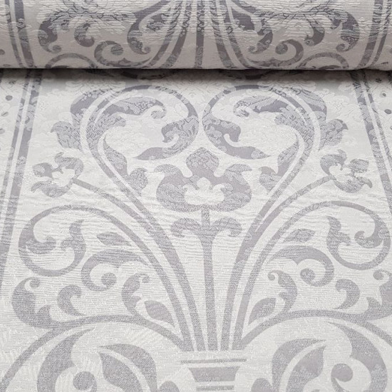 Tablecloth Flowered Jacquard fabric - Beautiful jacquard fabric fortablecloth with drawings of vases and flowers with continuous stripes and circles making the table runner. The fabric is 140cm wide and its cotton and polyester composition.