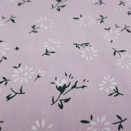 Tela Algodón Fino Flores Rosa - Tela fina de algodón tipo sábana con dibujos de flores similares al dientede león sobre un fondo rosa clarito. La tela mide 150cm de ancho y su composición 100% algodón.