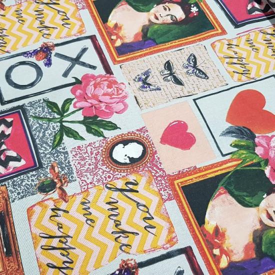 Decorative Cotton Butterflies Love Frames fabric - Decorative cotton fabric with pictures of portraits, butterflies, roses, phrases of