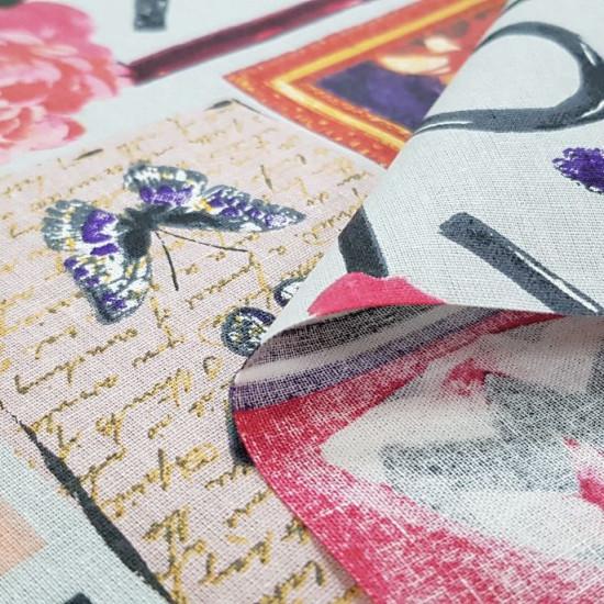 Tela Algodón Decorativo Mariposas Love Marcos - Tela de algodón decorativa con dibujos de cuadros de retratos, mariposas, rosas, frases de