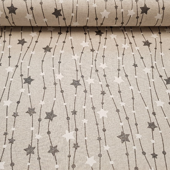 Tablecloth Christmas Stars Lights fabric - Perfect fabric for Christmas tablecloth with drawings of stars and circles on lines that mimic the Christmas luminaire. There are two variants of fabric to choose from, one with black and gold stars and circles o