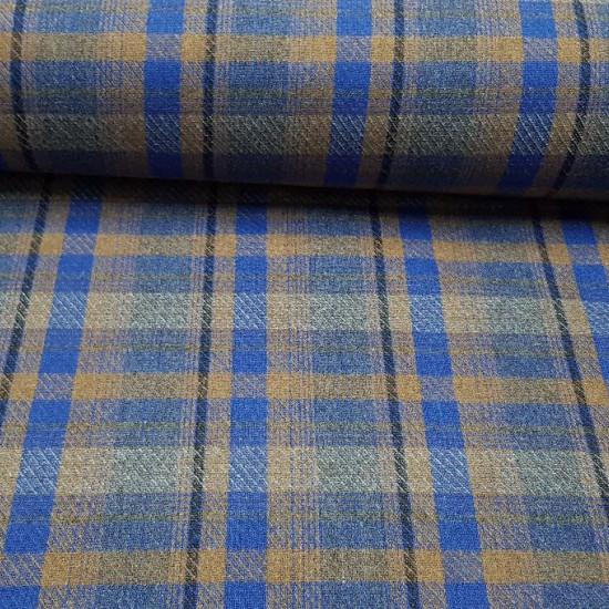 Tela Lana Cuadro Liverpool - Tela de lana con dibujo de cuadro escocés o tartán estilo Liverpool en tonos azules ymarrones con franjas oscuras. Tela de lana fabricada en España. La tela mide 140cm de ancho y su composición 65% poliester –35% lana