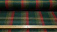 Tela Lana Cuadros Liverpool - Tela de lana con dibujo tartán o cuadro escocés estilo Liverpool en tonos verdes, rojos y ocres. Tela de lana fabricada en España. La tela mide 140cm de ancho y su composición 65% poliester –35% lana