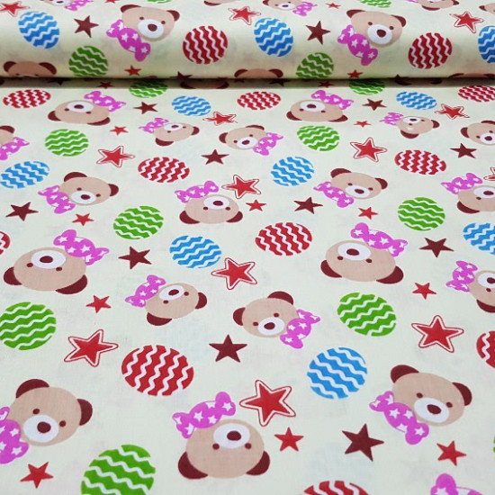 Cotton Bears and Red Stars Cream Background fabric - Fine cotton fabric with bears faces, red stars and egg shapes in various colors on cream yellow background.