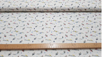 Tela Algodón Natación - Tela de algodón con dibujos de nadadores de varias formas y colores sobre un fondo blanco congotas de agua. La tela mide 150cm de ancho y su composición 100% algodón.