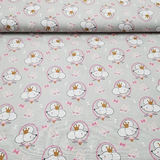 Cotton Little Rats fabric - Children's cotton fabric with drawings of little rats, shoes and bows, which can be picked up in the story of