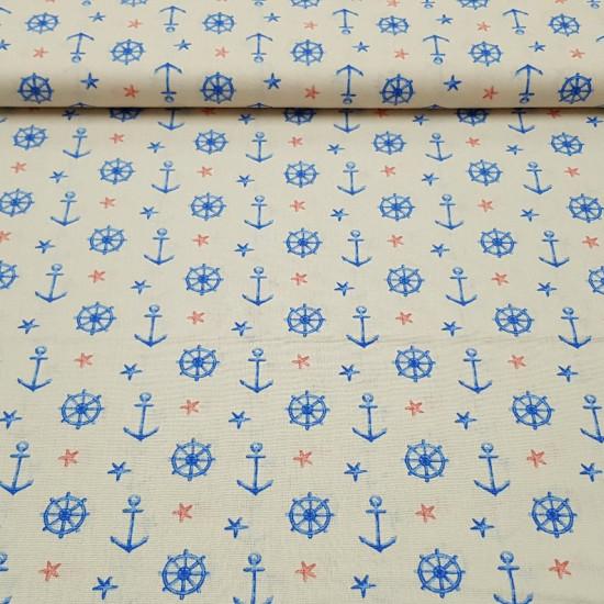 Tela Algodón Anclas y Timones - Tela de algodón con dibujos de anclas de barcoy timones de color azul sobre un fondo color crema. También lo decoran estrellas de mar de color rojo y azul.Tela de algodón de temática marinera. La tela mide 150cm de
