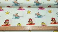 Tela Algodón Super Mario Princess - Tela de licencia algodón con los personajes del famoso videojuego deSuper Mario. En esta tela aparecen las princesas Peach, Rosalina y Daisy sobre un fondo claro color agua. La tela mide 110cm de ancho y su composic