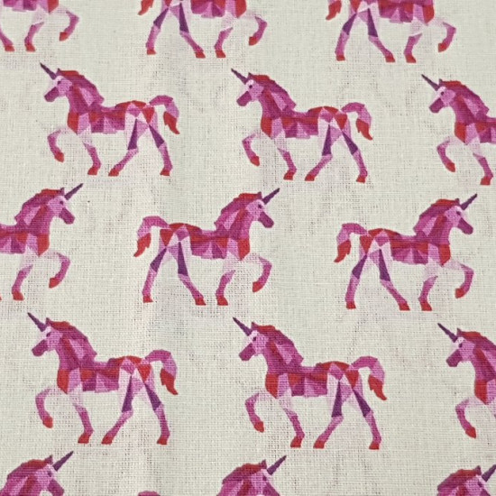Cotton Unicorns Fuchsia Geometry fabric - Children's cotton fabric with geometric unicorn drawings of fuchsia on white background. The fabric is 150cm wide and its composition 100% cotton