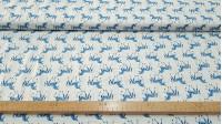 Tela Algodón Unicornios Geometría - Tela de algodón infantil con dibujos de unicornios de color azul sobre fondo blanco. La tela mide 150cm de ancho y su composición 100% algodón