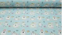 Cotton Animals Babies fabric - Beautiful children's cotton fabric with drawings of animals like mice, bunnies and baby bears on a blue background.