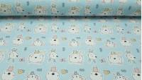 Tela Algodón Animales Bebés - Preciosa tela de algodón infantil con dibujos de animalitos como ratones, conejitos y ositos bebés sobre un fondo azul. La tela mide 150cm de ancho y su composición 100% algodón