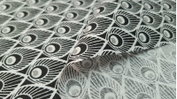 Cotton Feathers Turkey White Black fabric - Cotton fabric with feather drawings with circles imitating the feathers of a peacock, in black and white colors. The fabric is 150cm wide and its composition 100% cotton.