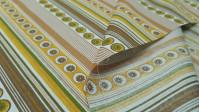 Tela OUTLET Algodón Rayas y Círculos Ocre - Tela de algodón con dibujos de rayas y círculos con forma de margarita, donde predominan los colores ocre, marrón, amarillo. La tela mide 140cm de ancho y su composición 100% algodón. Tela Barata Outlet Liquidac
