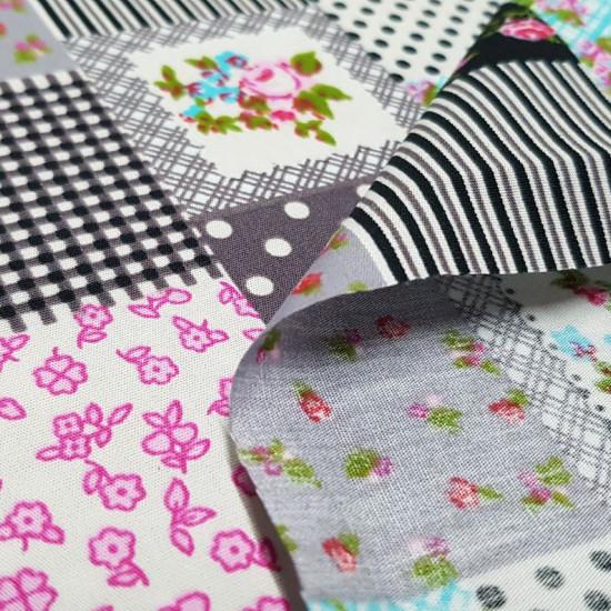 Tela Algodón Estilo Patchwork - Tela de popelín algodón estilo manualidad del Patchwork, variando dibujos floreados, rayas, topos… La tela mide 150cm de ancho y su composición 100% algodón.