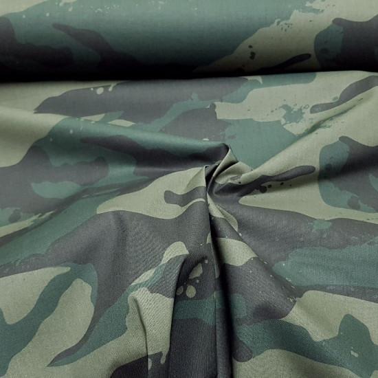 Tela Algodón Camuflaje Verde Grande - Tela de algodón empesa estampación digital con dibujo de camuflaje en trama grande donde predomina el color verde. La tela mide 140cm de ancho y su composición 100% algodón