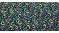 Tela Algodón Plumas Pavo Llamativas - Tela de algodón con mucho colorido con dibujos de plumas de pavo. La tela mide 150cm de ancho y su composición 100% algodón.