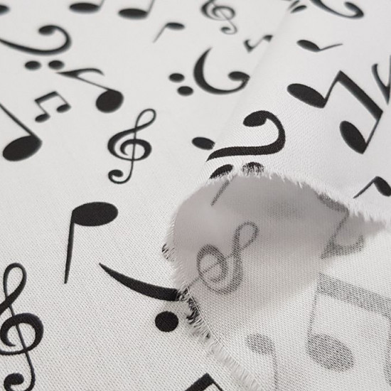 Cotton Musical Notes fabric - Satin cotton fabric with drawings of musical notes on a white background. The fabric is 140cm wide and its composition is 100% cotton.