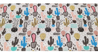 Cotton Cactus and Geometry fabric - Cotton fabric with catus drawings in pots of various sizes and colors combining with strokes, triangles and lines in black. The fabric is 150cm wide and its composition 100% cotton.