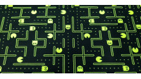 Cotton Pacman Neon Yellow fabric - Cotton fabric with drawings of the classic pacman video gamewith striking neon yellow color on a black background. The fabric is 150cm wide and its composition is 100% cotton.