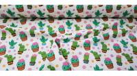 Tela Algodón Cactus Kawaii - Tela de algodón impresión digital con preciosos dibujos de cactus estilo Kawaii sobre un fondo blanco con flores. Tela exclusivaTextil Siles. La tela mide 140cm de ancho y su composición 10