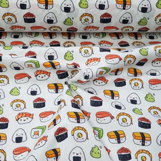 Cotton Sushi Kawaii fabric - Digitally printed cotton fabric with sushi drawings in Kawaii style, where funny sushi drawings (wasabi, nigiri, maki, uramaki ...) appear on a white background. Exclusive TextilSiles fabric. The fabric is 140c