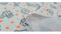Tela Algodón Coronavirus Neon Naranja - Tela de algodón con dibujos de caricaturas de coronavirus sobre un fondo blanco con manchas de color naranja neón. La tela mide 150cm de ancho y su composición 100% algodón.