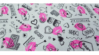 Cotton Kisses Love Neon Fuchsia fabric - Cotton fabric with drawings of lips in striking neon fuchsia color on a white background with drawings of hearts, love phrases... The fabric is 150cm wide and its composition is 100% cotton.