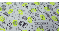 Cotton Kisses Love Neon Yellow fabric - Very striking cotton fabric with neon yellow kisses on a white background with hearts, love phrases ... The fabric is 150cm wide and its composition is 100% cotton.