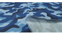 Cotton Camouflage Blue fabric - Satin cotton fabric with camouflage pattern in blue tones. The fabric is 140cm wide and its composition is 100% cotton.