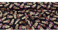 Cotton Frida Brown Background fabric - Cotton fabric with drawings of Frida Kahlo faces on a dark brown background. The fabric is 140cm wide and its composition is 100% cotton.