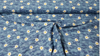 Cotton Camouflage Daisies fabric - Organic cotton fabric with drawings of daisies on a camouflage background in blue tones. The fabric is 150cm wide and its composition is 100% cotton.