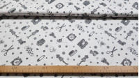 Cotton Sewing fabric - Cotton fabric with drawings of sewing accessories on a white background. Tape measures, scissors, needles, thimbles appear ... The fabric is 140cm wide and its composition 100% cotton.