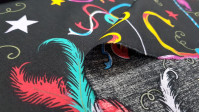 Cotton Carnival Masks fabric - Cotton fabric with drawings of Venetian style carnival masks with bright colors on a black background. The fabric is 145cm wide and its composition is 100% cotton.