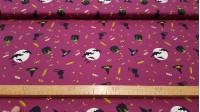 Tela Algodón Halloween Murcielagos - Tela de algodón con temática Halloween, con dibujos de murciélagos, gatos, arañas, calaveras, golosinas... sobre fondo violeta Es una tela 100% Algodón, ideal para trabajos y manualidades Patchwork, o para hacer deta