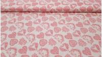 Tela Algodón Corazones Flores - Tela de algodón muy original con dibujos de formas de corazón en color rosa creadopor flores sobre un fondo claro. La tela mide 140cm de ancho y su composición 100% algodón.