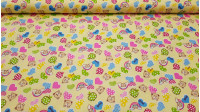 Cotton Bears and Hearts fabric - Beautiful children's cotton fabric with drawings of bears, hearts and apples of various colors and stripes on a yellow background. The fabric is 150cm wide and its composition 100% cotton.