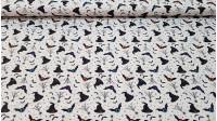 Tela Algodón Halloween Sombreros Bruja - Esta tela de algodón para Halloween es muy original y con mucha variedad de dibujos. Aparecen telarañas, murciélagos, muricélagos con un solo ojo, sombreros de bruja y estrellas de colores, todo ello sobre un fondo