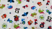 Tela Algodón Animales Colorido - Tela de algodón infantil muy colorida con dibujos de animales sobre fondo blanco. Hay murciélagos, ovejas, jirafas, osospanda, vacas, búhos... todos con mucho colorido! La tela mide 150cm de ancho y su composición 1
