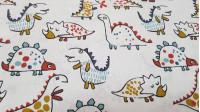 Tela Algodón Dinosaurios Divertidos - Tela de algodón muy divertida con dibujos de diferentes dinosaurios con trazos de varios colores sobre un fondo claro. La tela mide 150cm de ancho y su composición 100% algodón.