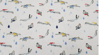 Cotton Swimming fabric - Cotton fabric with drawings of swimmers of various shapes and colors on a white background with water drops. The fabric is 150cm wide and its composition 100% cotton.