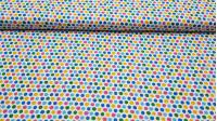 Tela Algodón Topos Multicolores - Tela de algodón ancho americano con dibujos de topos multicolor sobre un fondo blanco. La tela mide 110cm de ancho y su composición 100% algodón.