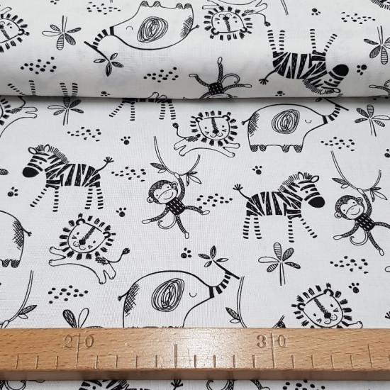 Tela Algodón Safari Central Animales - Tela de algodón con dibujos de leones, cebras, monos y elefantes sobre un fondo blanco. Esta tela forma parte de la colección Safari Central de Fabric Palette La tela mide 110cm de ancho y su composición 100% alg
